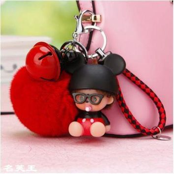 2017 New Cartoon Bunny Mouse Dolls Real Fur Pom Pom Pompom Ball Ladybug Keychain Key Chain Ring Lady Bag Car Pendant Porte Clef