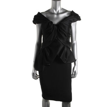 Marchesa Womens Silk Peplum Cocktail Dress