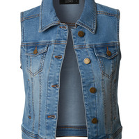Vintage Distressed Sleeveless Cropped Denim Vest