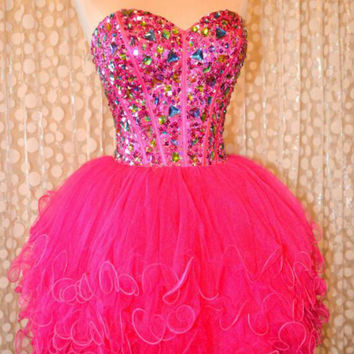 Sexy Elegant Crystal Stone Cocktail Dress 2016 Sweetheart Hot Pink Puffy Tulle Ball Gown Short Boned Party Homecoming Dress
