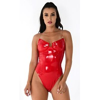 Candy Shell Red PU Patent Vinyl Faux Leather Strapless V Neck Cut Out Thong Bustier Bodysuit Top