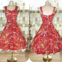 Vintage 50s AMAZING Royal Hawaiian Sweetheart Full Sweep Sun Dress Orange & Red Tiki Print L/XL