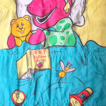 Vintage Barney The Dinosaur Sleeping Bag 1992