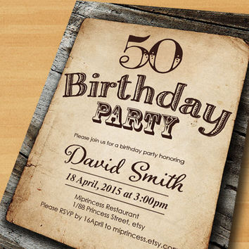 Birthday Invitation for any age, vintage wood design 30th 40th 50th 60th 70th retro rustic birthday invitation - card 319