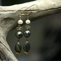 Lombok pearls and pyrite dangle earrings, 14k gold filled