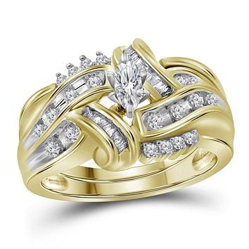 10kt Yellow Gold Women's Marquise Diamond Bridal Wedding Engagement Ring Band Set 1/2 Cttw - FREE Shipping (US/CAN)