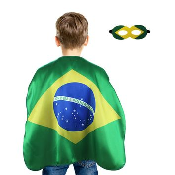SPECIAL L 27* Brazil flags mask cape world cup Russia 2018 card soccer Brazilian soccer fans stadium celebrate supporters gifts