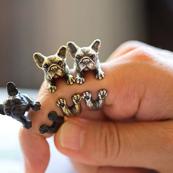 Vintage French Bulldog Animal Wrap Ring