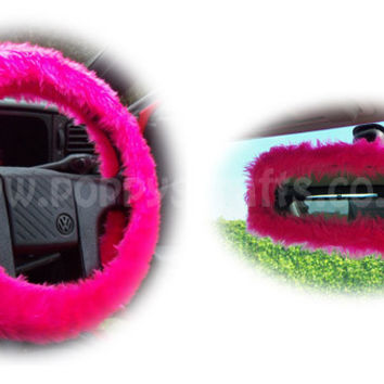 Barbie Pink fuzzy steering wheel cover with cute matching rearview interior mirror cover