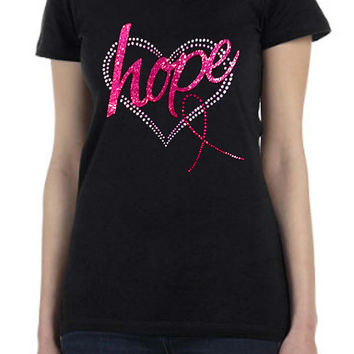 AWARENESS Printed T Shirt RHINESTONE & Glitter Screen Print Tee Pink Ribbon Bling