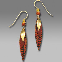 Adajio Earrings - Three-Part Long Slender Leaf Shape in Copper Colors and Gold Plate