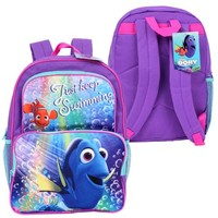 "Disney Finding Dory ""Just Keep Swimming"" Dory and Nemo Backpack, 16 X 12 inches - Walmart.com"