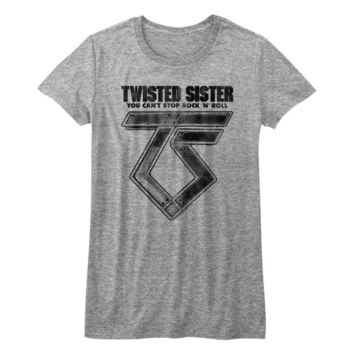 TWISTED SISTER-CAN'T STOP ROCK'N'ROLL-GRAY HEATHER JUNIORS S/S TSHIRT