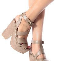 Taupe Faux Leather Strappy Chunky Platform Heels