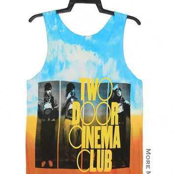 Two Door Cinema Club Tie Dye Light Blue Orange No Sew Singlet Vest Tunic Tank Top Sleeveless Shirt Women Indie Singer Rock T-Shirt Size S-M