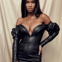 Pasita Vegan Leather Off Shoulder Sexy Dress