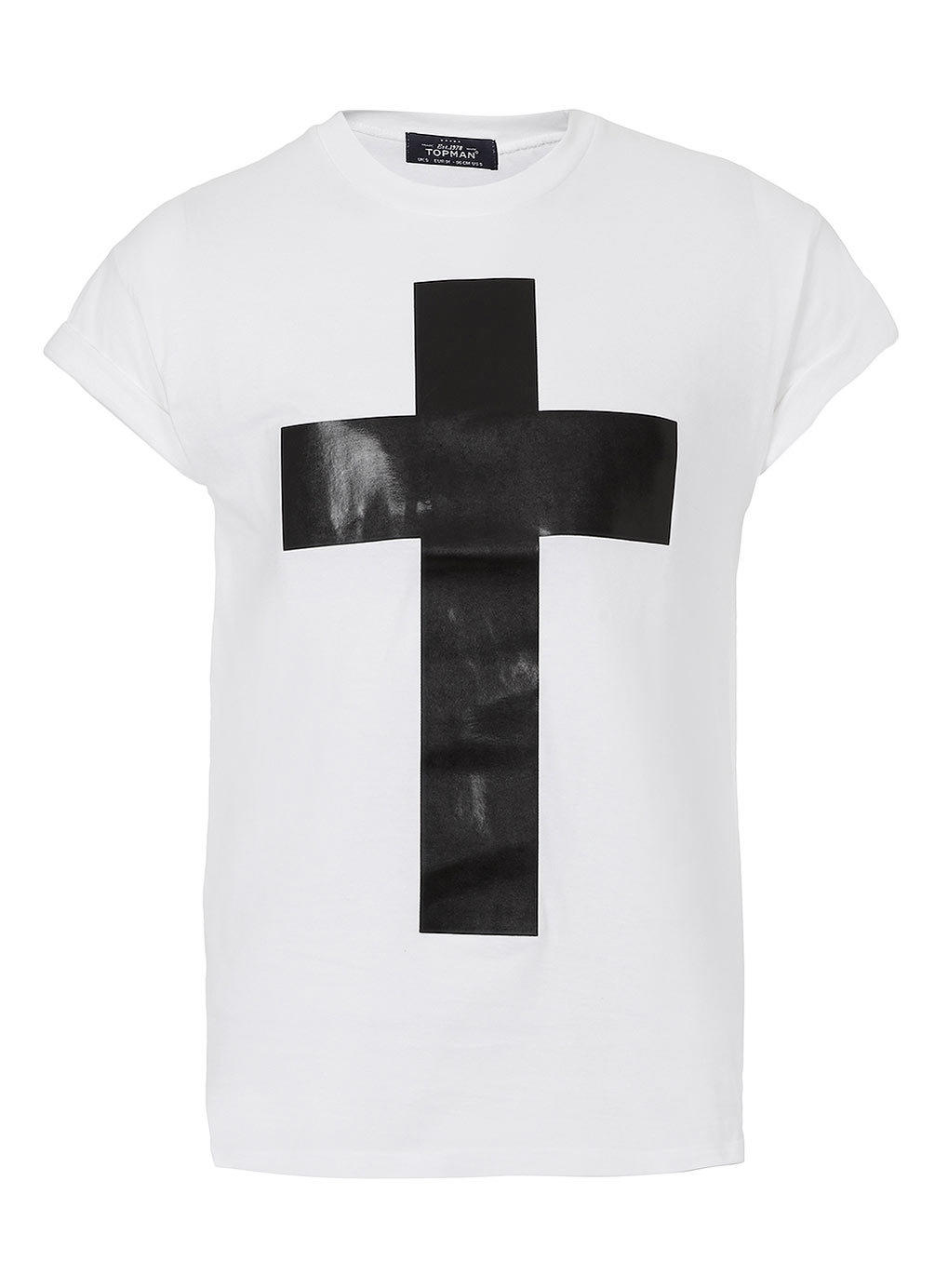 White leather look cross t shirt mens from topman shirts for Mens white leather shirt