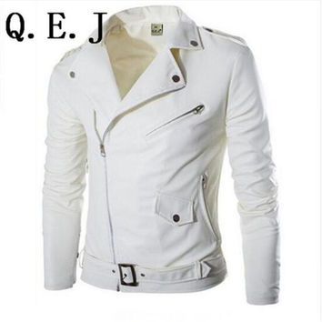 Fashion stand collar motorcycle leather clothing men's leather jacket male outerwear White Leather & Suede M-XXL