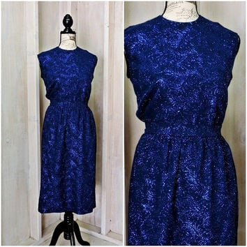 Vintage 60s silk dress /  Jackie O / 2 piece / iridescent / embroidered  / 1960s / royal blue / formal / glam / size 7 / 8