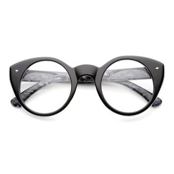 Round Cat Eye Clear Fashion Frame Glasses