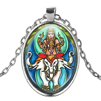 Lord Indra Ruler of the Heavens Talisman with Chain Necklace