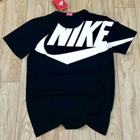 NIKE ATOMS limited edition large logo big hook advocating streamlined fashion short sleeves F-CY-MN black