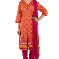 Peach and Pink Printed Suit with V-Neck and Gota
