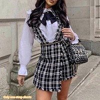 Spring and autumn  ladies fashion new small fragrance black and white plaid metal zipper strap shorts