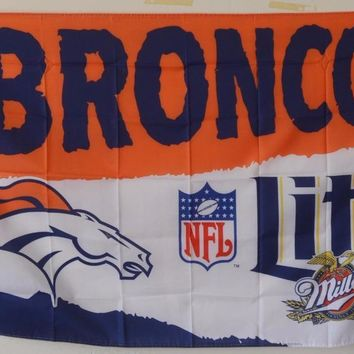 Miller Lite Beer Denver Broncos Flag 150* 90cm Custom flag