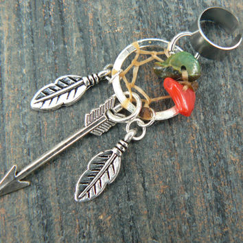 silver arrow dreamcatcher ear cuff turquoise red coral feathers  in  tribal boho belly dancer tribal fusion and hipster style