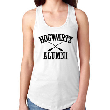 Ladies White Tank Top - Hogwarts Alumni