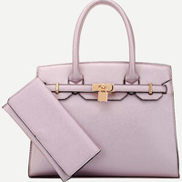 Purple Locked Strap Embellished Tote Bag With Wallet