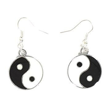 Yin Yang Earrings Silver Tone Medallion Tao Dangle Black White Earrings EG42 Fashion Jewelry