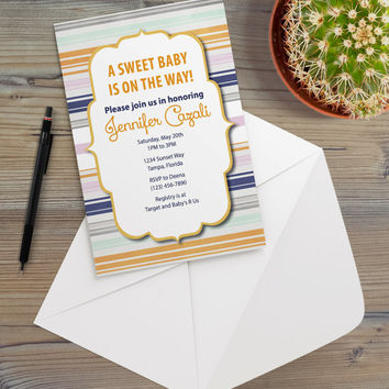 Instant Download - Multi Color Southwestern Stripes Navy Blue Purple Orange Gray Western Cottage Shabby Chic Party Invitation Template