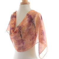 Salmon pink silk scarf, purple and black print naturally dyed with madder and eco printed with elderberries, autumn leaves and rusty nails