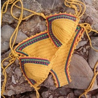 New Fashion Vintage Sexy Cotton handmade Crochet Swimwear Knitted Bikini set women Swimsuit Bathing Suit HL028
