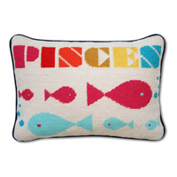 Jonathan Adler Pisces Zodiac Needlepoint Throw Pillow