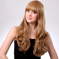 Blonde Neat Bang Hairstyle Synthetic Long Wave Curly Wig