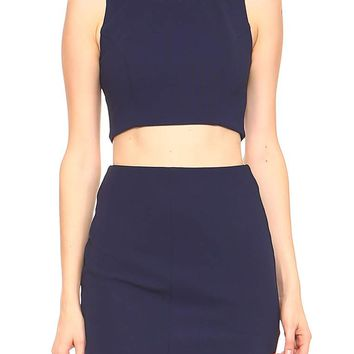 Teeze Me | Two-Piece Sleeveless Jewel Neck Crop Top Skater Dress   | Navy