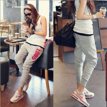 2014 New Fashion Korean Women Ladies Gray Hip Hop Dance Sports Harem Elastic Pants Casual Trousers Plus Size Pencil Pants 1985