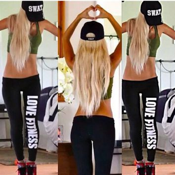 Dark Workout Leggings  (Cotton/Polyester/Spandex Blend)