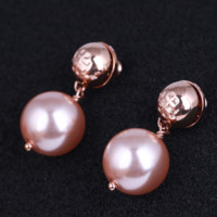 Tory Burch Fashion New Titanium Steel Pearl Women Long Earring Accessories Rose Gold