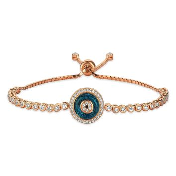 Evileye tennis bracelet 925k sterling silver with zirconia stones rose gold plated