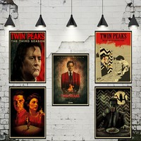 Horror Film Twin Peaks Vintage Retro Kraft Poster Decorative DIY Wall Stickers Home Bar Art Posters Decoration Gift