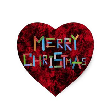 Merry Christmas Heart Sticker