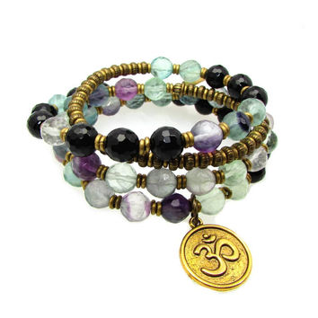 Cleanse and Soothe, genuine Fluorite and Onyx 54 bead wrap mala bracelet