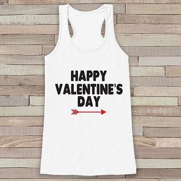 Womens Valentine Shirt - Cute Valentine's Day Tank Top - Women's Happy Valentine's Day Tank - Red Arrow Valentines Shirt - White Tank Top