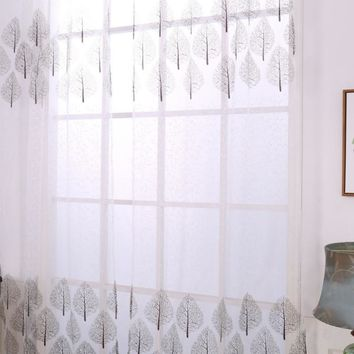 Luxurious Polyester Embroidered Curtain Bedroom Window Tulle Gauze Grey Voile Curtains for Living Room Curtain Finished