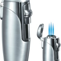 Visol Triad Brushed Satin Silver Triple Torch Flame Lighter