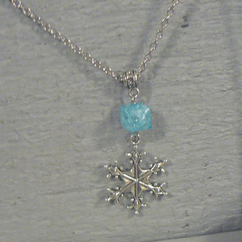 Blue Ice Snowflake Necklace Once Upon A Time  Frozen Inspired  OUAT Winter Christmas jewelry